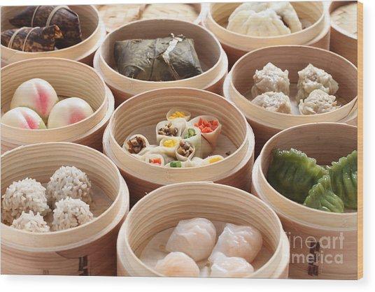Yumcha, Dim Sum In Bamboo Steamer Wood Print