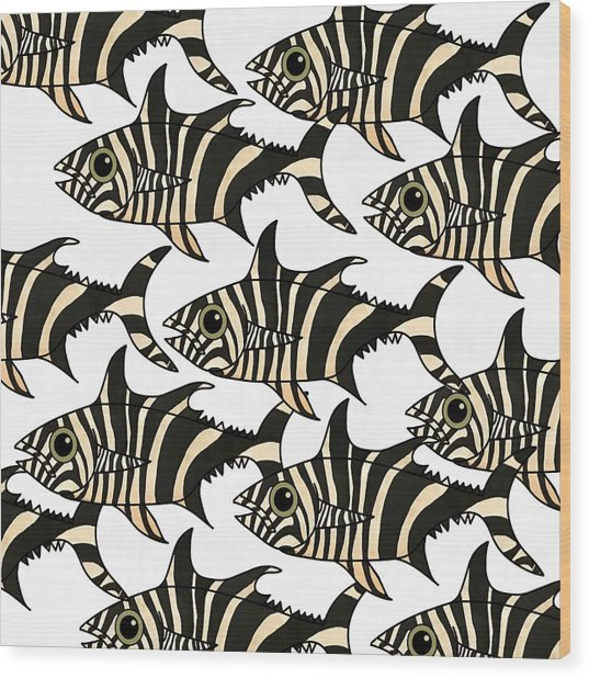 Wood Print featuring the mixed media Zebra Fish 4 by Joan Stratton