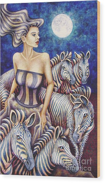 Zebra Moon Wood Print