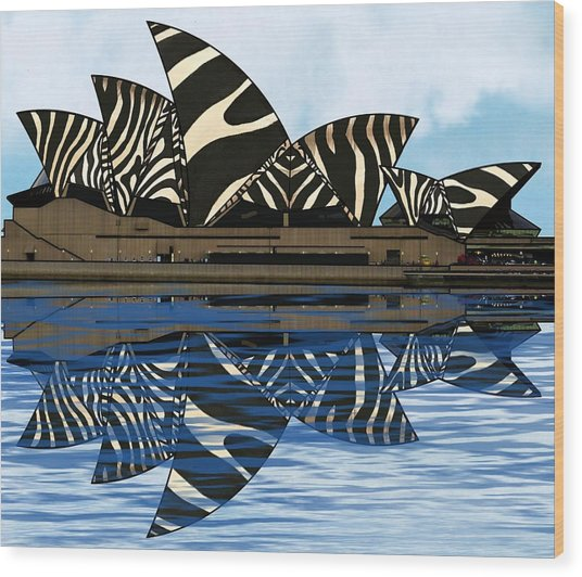 Wood Print featuring the mixed media Zebra Opera House 4 by Joan Stratton