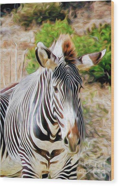 Zebra Rendition I Wood Print