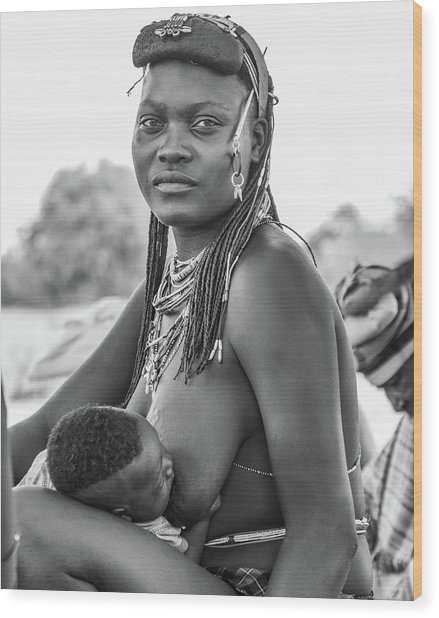 Zemba Mother And Child Wood Print