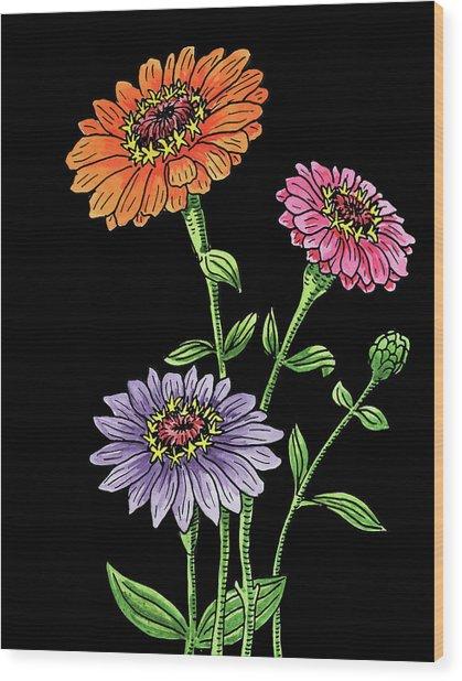 Zinnia Flowers Botanical Watercolour  Wood Print
