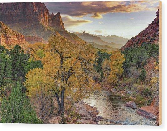 Zion National Park Autumn Wood Print by Leland D Howard