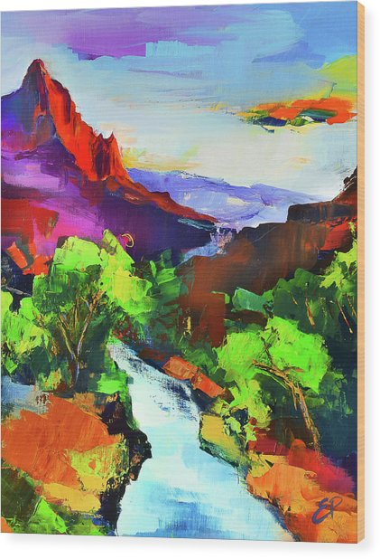 Zion - The Watchman And The Virgin River Wood Print