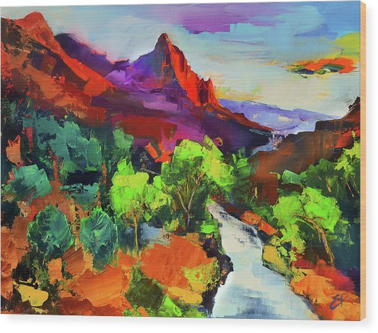 Zion - The Watchman And The Virgin River Vista Wood Print