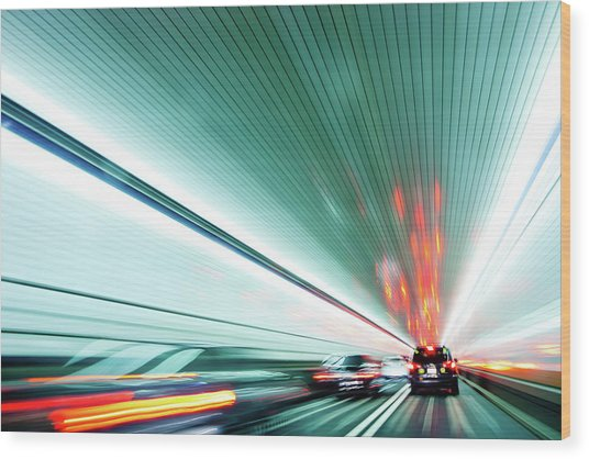 Zipping Through The Holland Tunnel Wood Print by Tanja-tiziana, Doublecrossed Photography