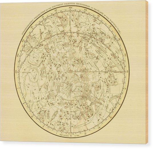 Zodiac Map Wood Print