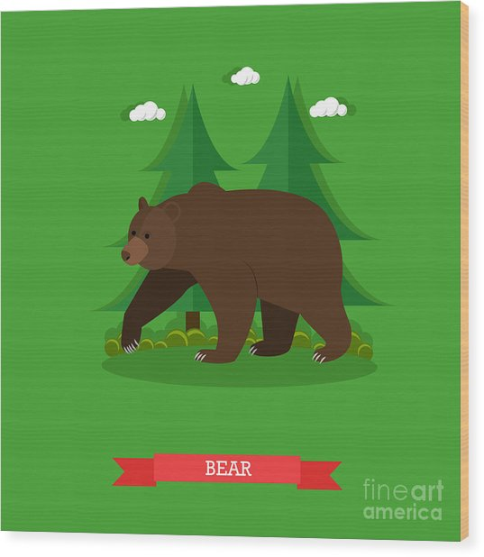 Zoo Concept Banner. Wildlife Bear Wood Print