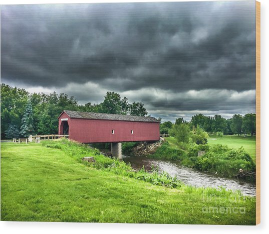 Zumbrota Bridge Thunder Wood Print