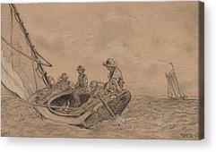 Sailboat Ocean Drawings Acrylic Prints