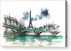 Eiffel Tower Paintings Acrylic Prints