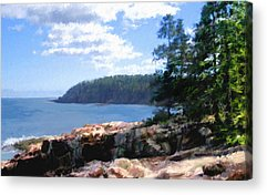 Maine Shore Digital Art Acrylic Prints