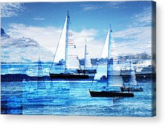 Sailboat Ocean Digital Art Acrylic Prints