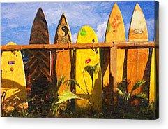 Bamboo Fence Digital Art Acrylic Prints