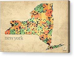 New York Mixed Media Acrylic Prints