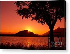 Sparkling Lake At Sunset Photographs Acrylic Prints