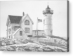 Cape Neddick Lighthouse Drawings Acrylic Prints