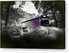 Covered Bridge Mixed Media Acrylic Prints