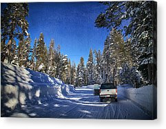 Snow-covered Landscape Digital Art Acrylic Prints