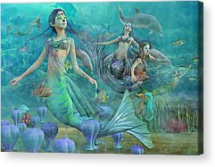 Angel Mermaids Ocean Digital Art Acrylic Prints