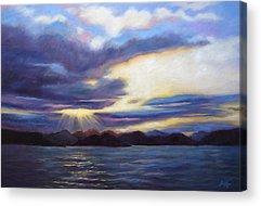 Reflection Of Sun Creates Amazing Sunset Acrylic Prints
