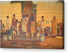 Bamboo Fence Paintings Acrylic Prints