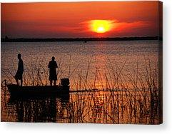 Sunset At The Lake Photographs Acrylic Prints