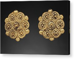 Gold Earrings Drawings Acrylic Prints