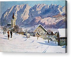Snow Scenes In Watercolors Paintings Acrylic Prints