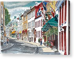 Quebec Streets Paintings Acrylic Prints