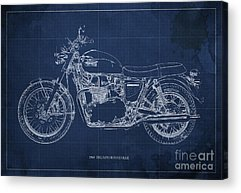 Moto Blueprint Drawings Acrylic Prints