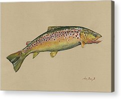 Trout Watercolor Acrylic Prints