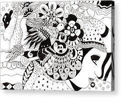 Organic Abstraction Drawings Acrylic Prints