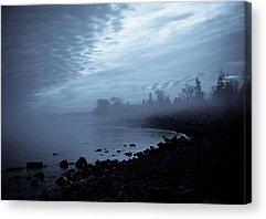 Fog Beach Landscape Clouds Water Brighton Beach Duluth Lake Superior Lake Acrylic Prints