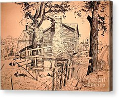 Old Barn Pen And Ink Acrylic Prints