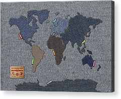 America The Continent Mixed Media Acrylic Prints