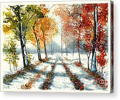 Red Leaves Snow Acrylic Prints