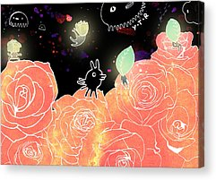 Flower Pink Fairy Child Mixed Media Acrylic Prints