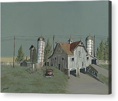 Old Barns Paintings Acrylic Prints