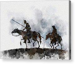 Horseback Mixed Media Acrylic Prints