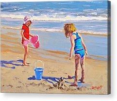 Children Playing On Beach Acrylic Prints