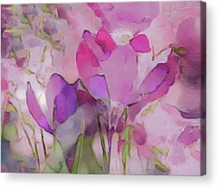 Pinks And Purple Petals Mixed Media Acrylic Prints