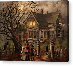 Haunted House Paintings Acrylic Prints