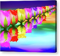 Rainbow Rose Acrylic Prints
