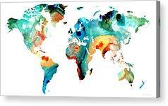 World Map Paintings Acrylic Prints