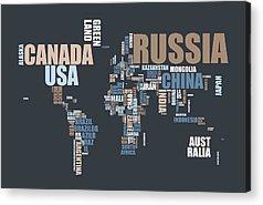 Word Map Digital Art Acrylic Prints