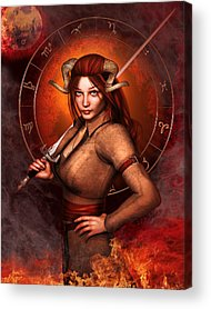 Warrior Goddess Mixed Media Acrylic Prints