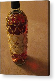 The White Wine Bottle In Its Netting Casts A Red Ethereal Glow On The Acrylic Prints
