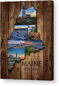Cape Neddick Lighthouse Digital Art Acrylic Prints